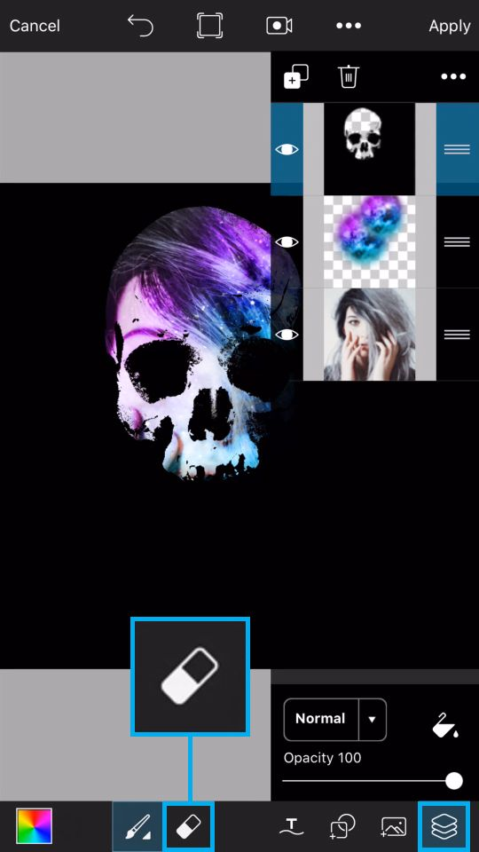 PicsArt Tutorial - Galaxy Skull 18