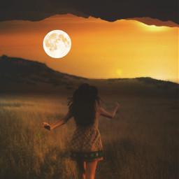 moon upsidedown people landscape mountains freetoedit
