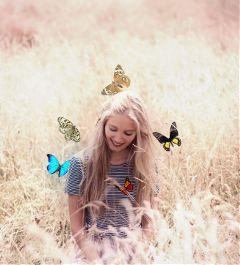 freetoedit remix butterflies field summer